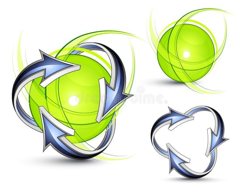 Flechas que mueven en órbita alrededor de esferas ilustración del vector