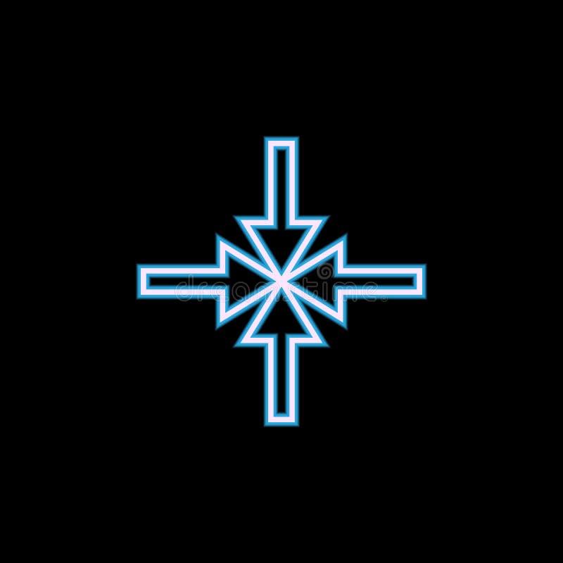 flechas que señalan hacia el icono de centro en el estilo de neón Uno del icono de la colección del web se puede utilizar para UI stock de ilustración