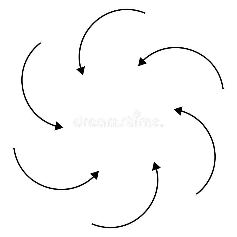 Flechas radiales, circulares para los conceptos giratorio, giratorio y giratorio Ilustración de puntero concéntrico para temas de libre illustration