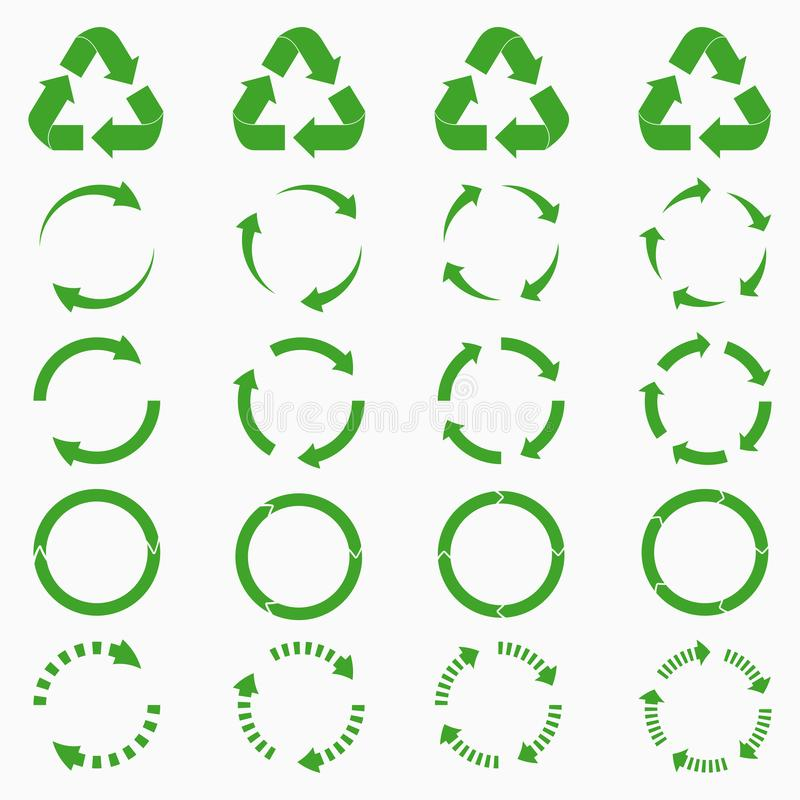 Flechas redondas fijadas El círculo verde recicla colecciones de los iconos Vector libre illustration