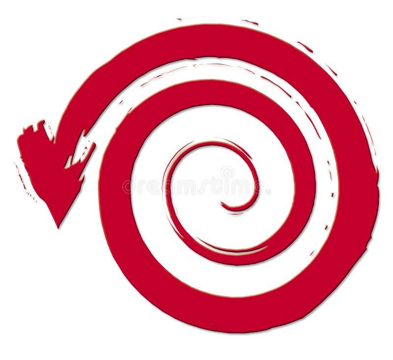 Flechas rojas con espiral ilustración del vector