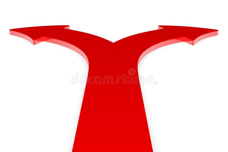 Flechas rojas en dos direcciones ilustración del vector