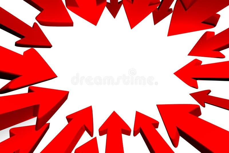 Flechas rojas que apuntan al centro stock de ilustración