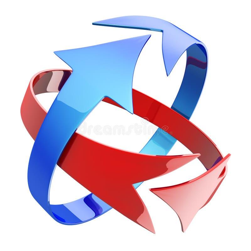 Flechas rojas y azules stock de ilustración