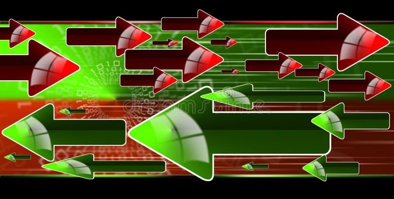Flechas rojas y verdes del flujo libre illustration