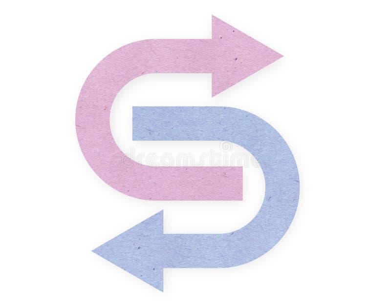 Flechas rosadas y azules del papper imagen de archivo
