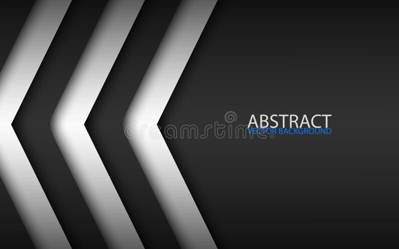 Flechas sobrepuestas blancos y negros, fondo moderno abstracto del vector con el lugar para su texto, diseño material stock de ilustración
