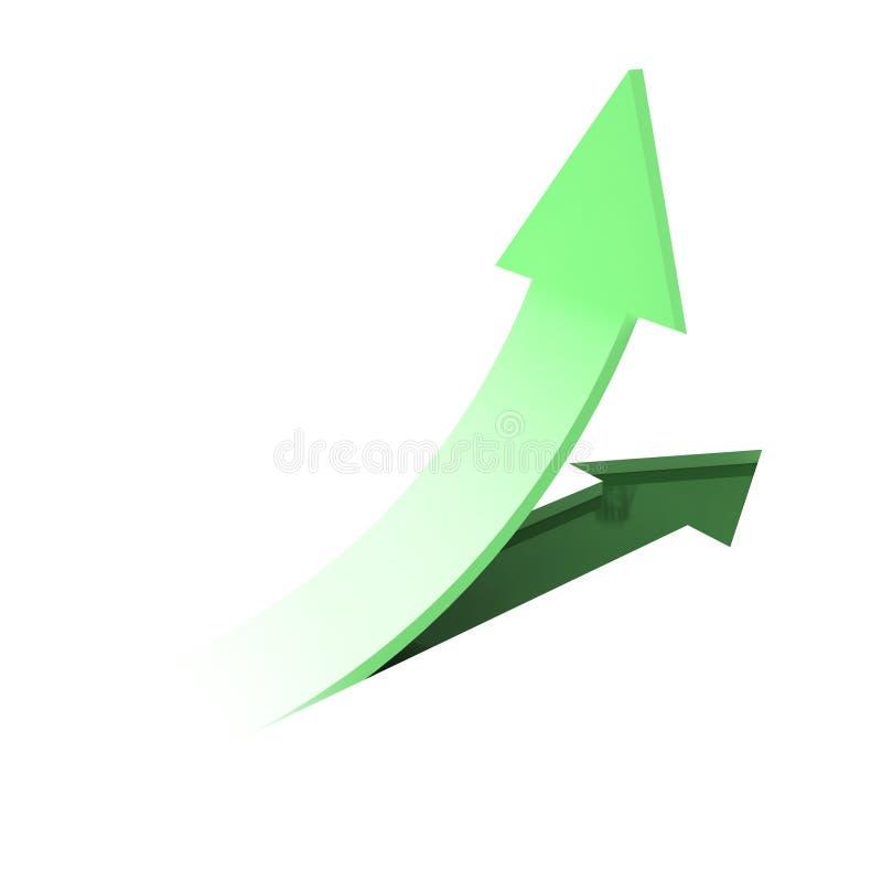 Flechas verdes en el fondo blanco stock de ilustración