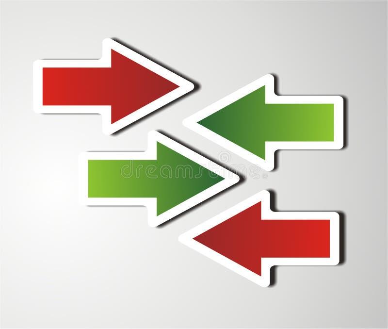 Flechas verdes y rojas stock de ilustración