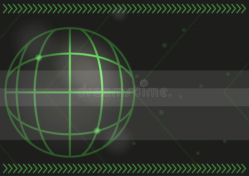 Flechas y fondo verdes de los coordenadas del mapa ilustración del vector