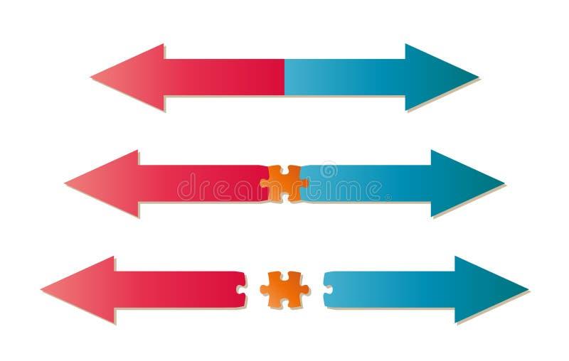 Flechas y pedazo del rompecabezas ilustración del vector