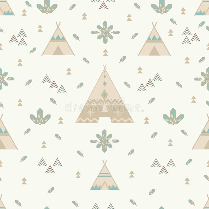 Flechas y pepitas de bosque indias, tienda tribal, aztec ilustración del vector