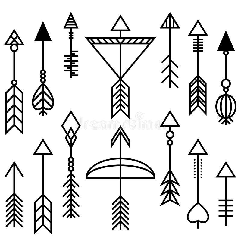 Flechas y sistema del arco stock de ilustración