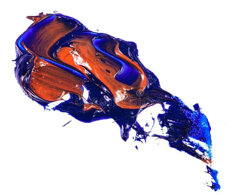 Fleck der Blau- und Rotölfarbe Abstrich auf Weiß stockfotos
