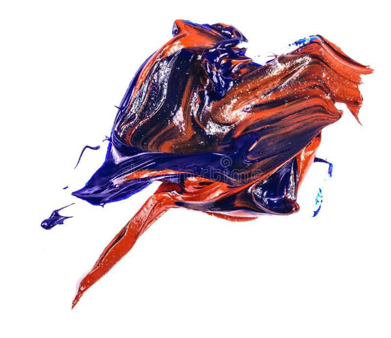 Fleck der Blau- und Rot?lfarbe Abstrich auf Wei? stockbild