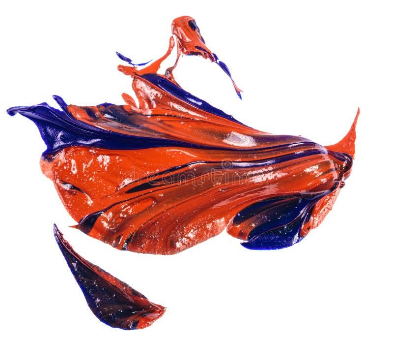 Fleck der Blau- und Rot?lfarbe Abstrich auf Wei? lizenzfreies stockbild
