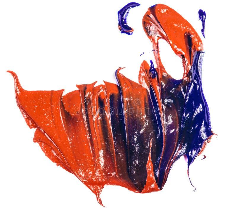 Fleck der Blau- und Rot?lfarbe Abstrich auf Wei? lizenzfreie stockbilder