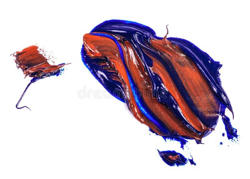 Fleck der Blau- und Rot?lfarbe Abstrich auf Wei? lizenzfreies stockfoto