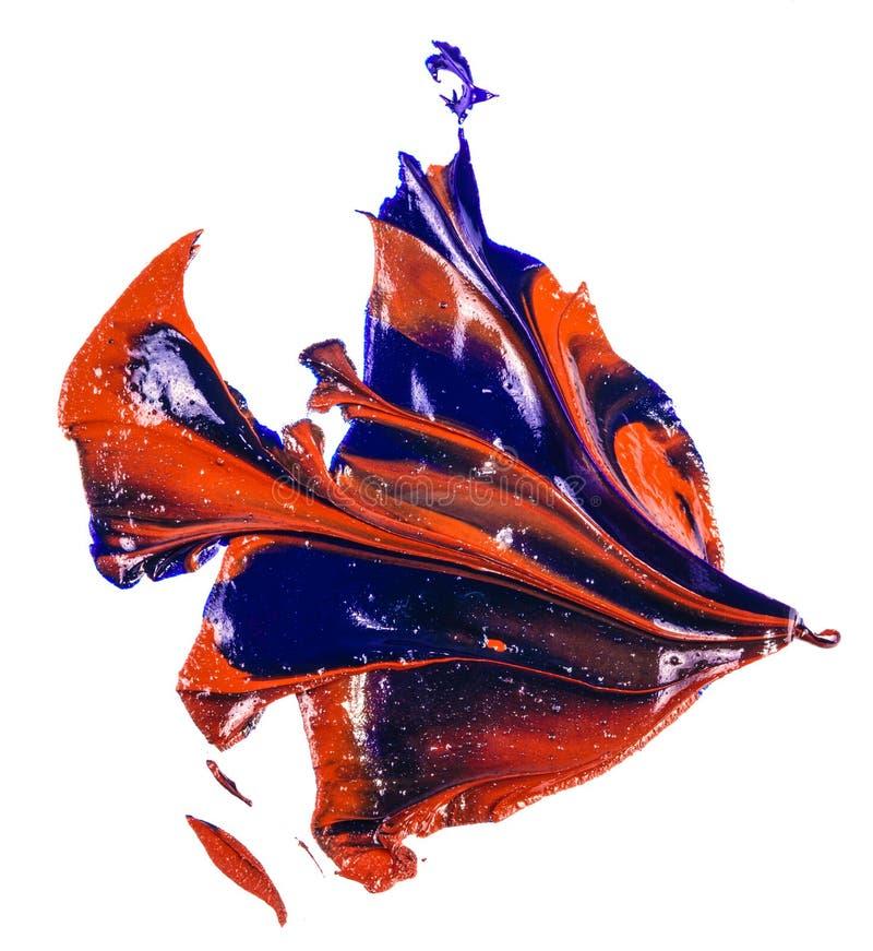 Fleck der Blau- und Rot?lfarbe Abstrich auf Wei? stockfoto