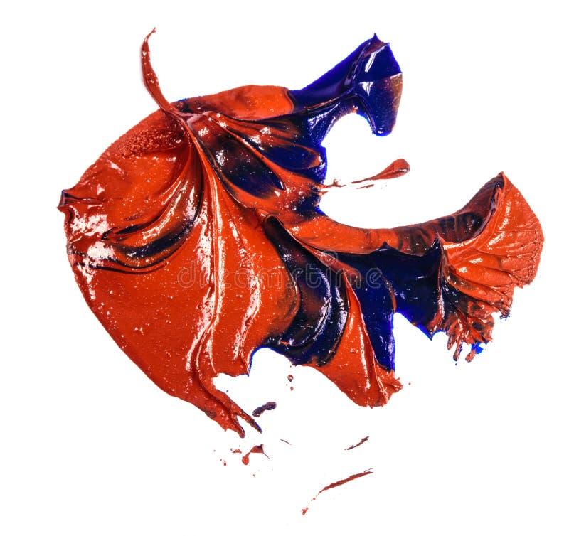 Fleck der Blau- und Rot?lfarbe Abstrich auf Wei? stockfotografie