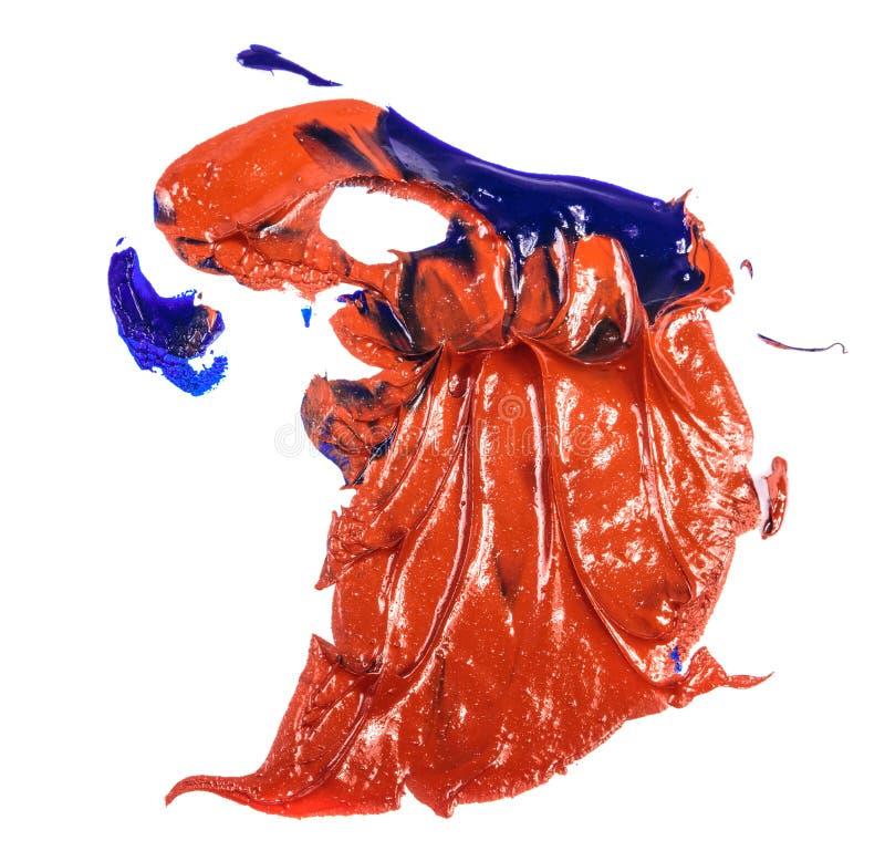 Fleck der Blau- und Rot?lfarbe Abstrich auf Wei? stockfotos