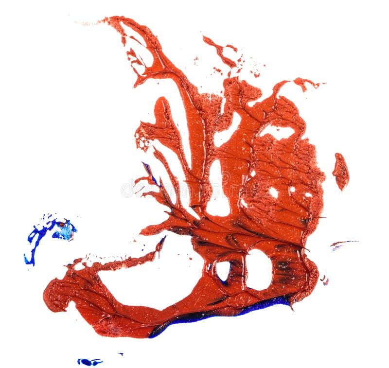 Fleck der Blau- und Rot?lfarbe Abstrich auf Wei? lizenzfreie stockfotos