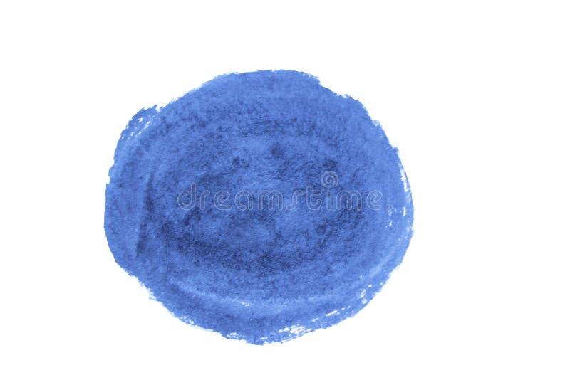 Fleck der blauen Tinte Untergrundfarbebeschaffenheit auf dem Papier lokalisiert auf weißem Hintergrund stockfoto