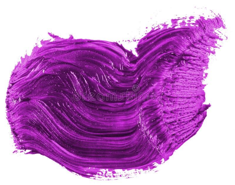 Fleck der purpurroten ?lfarbe auf Wei? stockfotografie