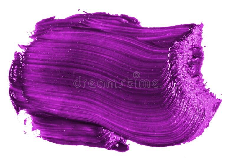 Fleck der purpurroten ?lfarbe auf Wei? stockfoto