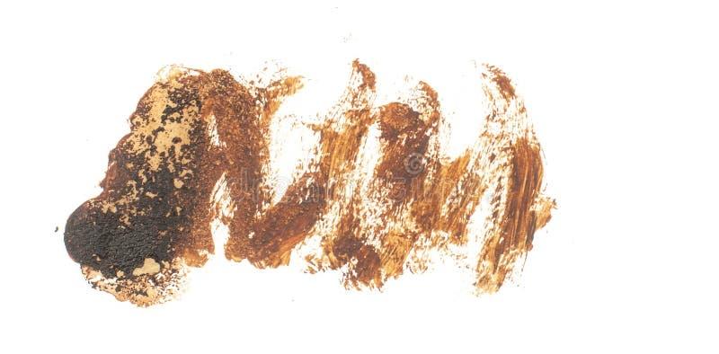 Fleck lokalisiert auf weißem Hintergrund Realistische Beschaffenheitsaquarell-Schmutzbürste Dunkelbraunes Kennzeichen, Watercol lizenzfreie stockfotografie
