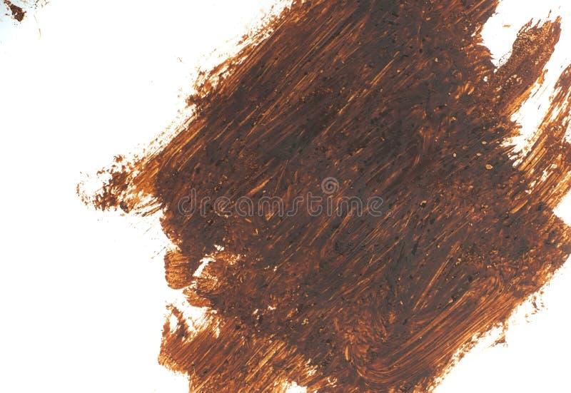 Fleck lokalisiert auf weißem Hintergrund Realistische Beschaffenheitsaquarell-Schmutzbürste Dunkelbraunes Kennzeichen, Watercol stockfoto