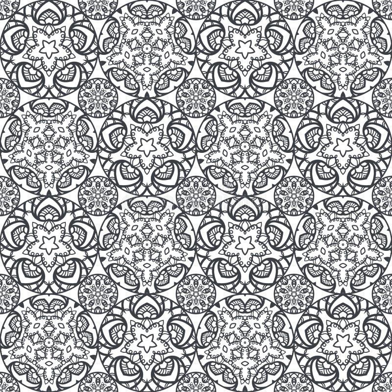 Flecken Boho-Blumen-nahtloses Muster Mandalapatchwork, orientalisches Design Tapezieren Sie, Möbelgewebe, Gewebedruck, Fliese dec vektor abbildung