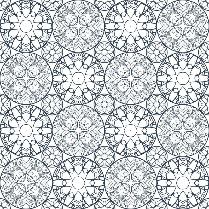 Flecken Boho-Blumen-nahtloses Muster Mandalapatchwork, orientalisches Design Tapezieren Sie, Möbelgewebe, Gewebedruck, Fliese dec lizenzfreie abbildung