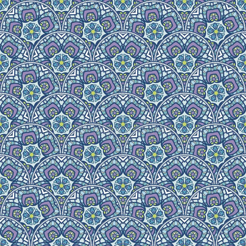 Flecken Boho-Blumen-nahtloses Muster Mandalapatchwork, orientalisches Design Tapezieren Sie, Möbelgewebe, Gewebedruck, Fliese dec stock abbildung