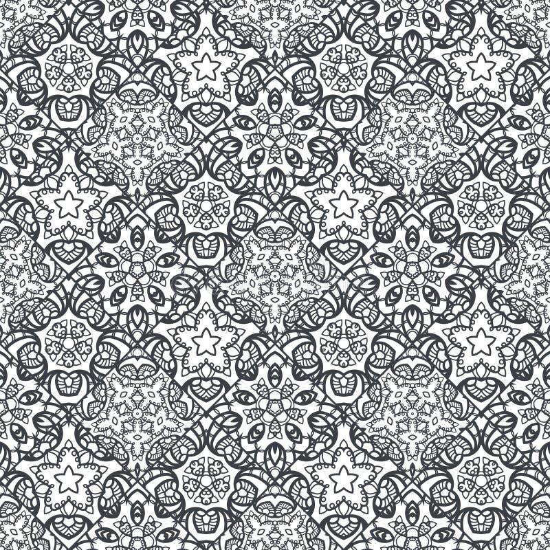 Flecken Boho-Blumen-nahtloses Muster Mandalapatchwork, orientalisches Design Tapezieren Sie, Möbelgewebe, Gewebedruck, Kissen dec stock abbildung