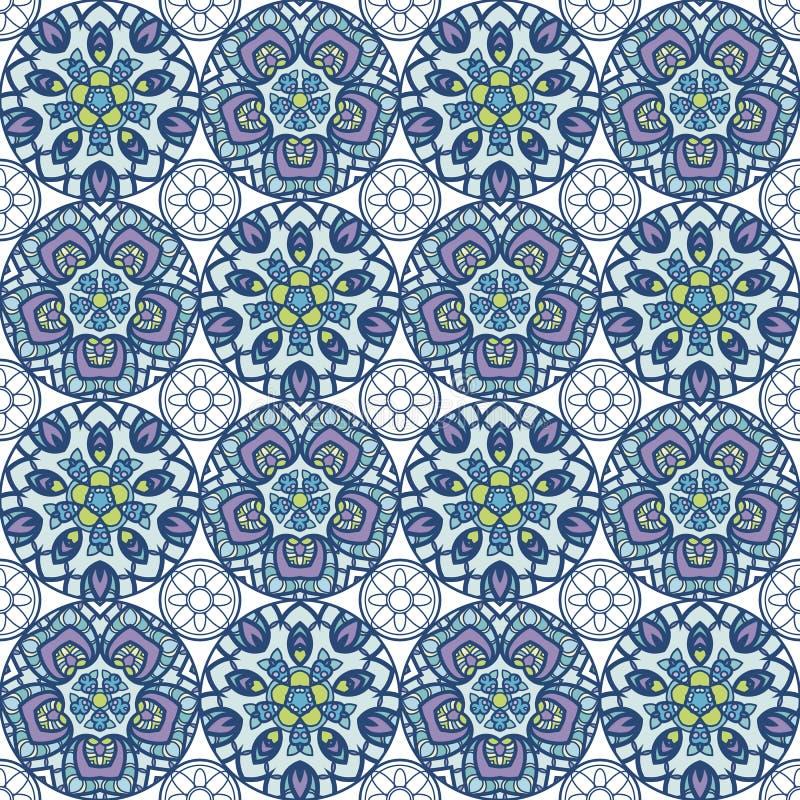 Flecken Boho-Blumen-nahtloses Muster Mandalapatchwork, orientalisches Design Tapezieren Sie, Möbelgewebe, Gewebedruck, Kissen dec vektor abbildung