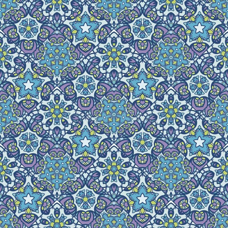 Flecken Boho-Blumen-nahtloses Muster Mandalapatchwork, orientalisches Design Tapezieren Sie, Möbelgewebe, Gewebedruck, Kissen dec lizenzfreie abbildung