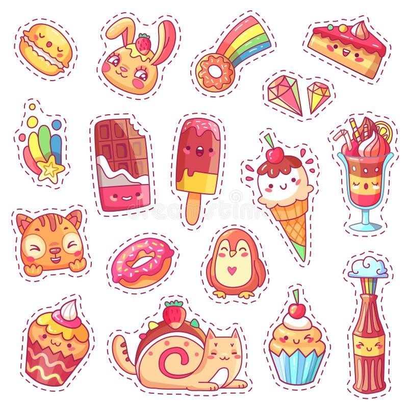 Flecken des süßen Erdbeernachtischs, der Kirscheiscreme, der positiven glücklichen Tiergesichter und des lustigen Karikaturlebens stock abbildung