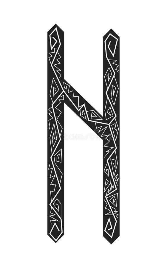 Fleece Hagalaz. Ancient Scandinavian runes. Runes senior futarka. Magic, ceremonies, religious symbols. Predictions and amulets. Ornament lightning. White royalty free illustration