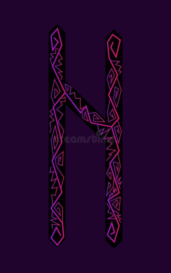Fleece Hagalaz. Ancient Scandinavian runes. Runes senior futarka. Magic, ceremonies, religious symbols. Predictions and amulets. Ornament lightning. Dark vector illustration