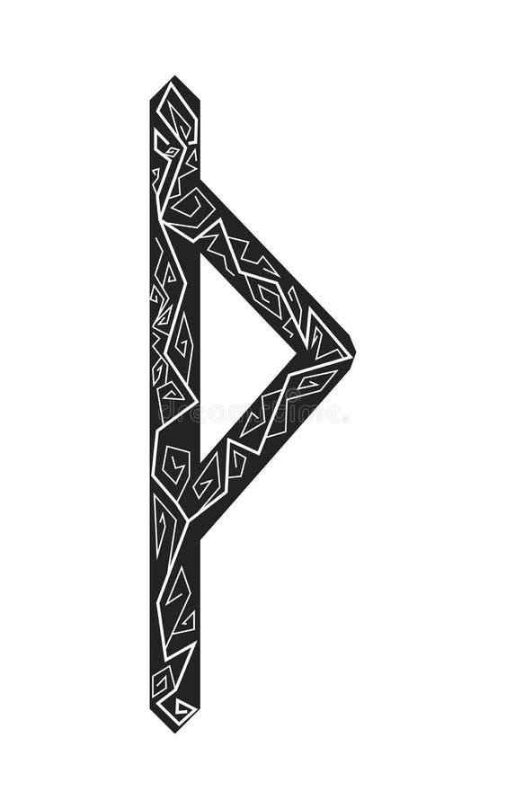 Fleece Thurisaz. Ancient Scandinavian runes. Runes senior futarka. Magic, ceremonies, religious symbols. Predictions and amulets. Ornament lightning. White royalty free illustration