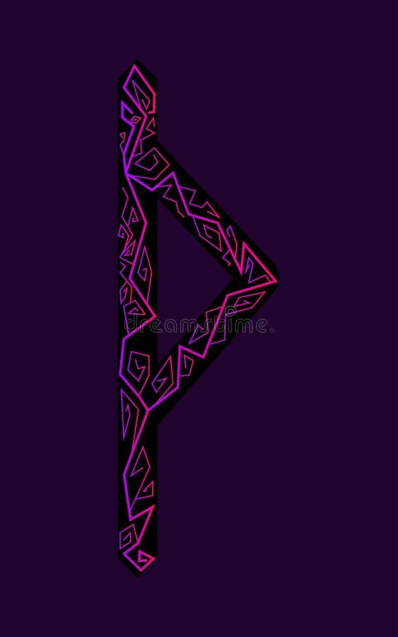 Fleece Thurisaz. Ancient Scandinavian runes. Runes senior futarka. Magic, ceremonies, religious symbols. Predictions and amulets. Ornament lightning. Dark stock illustration