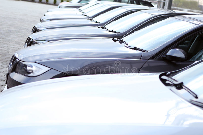 Fleet of cars stock image