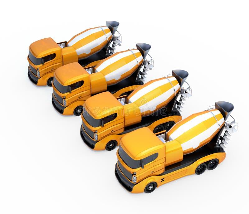 Fleet of concrete mixer trucks isolated on white background. 3D rendering image vector illustration