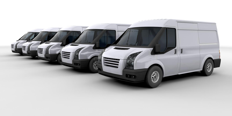 Fleet of delivery vans royalty free illustration
