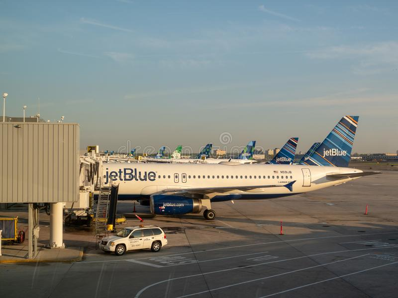 Fleet of JetBlue airliners waiting for refuel at JFK Airport royalty free stock photo