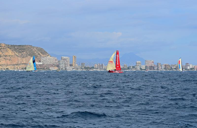 The Fleet Rounding A Buoy Volvo Ocean Race Alicante 2017. Beating to and running with the wind under spinnakers or code 0 during the first leg of the round the royalty free stock photography