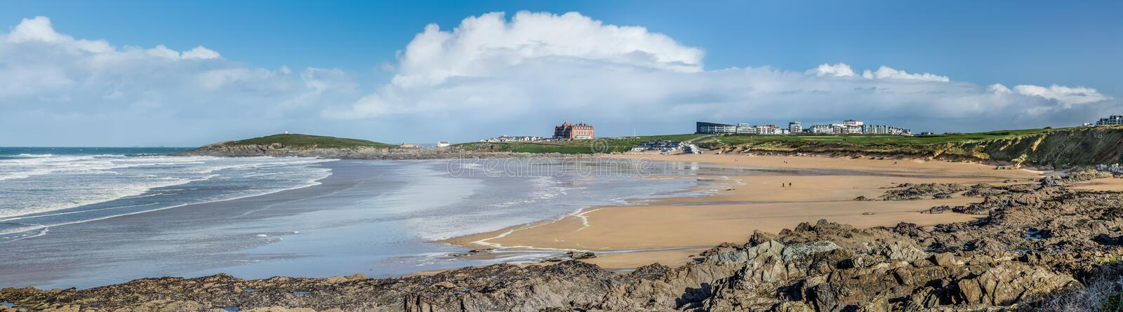 Fleeting Clouds, Fistral Beach, Newquay, Cornwall. Fleeting Clouds, over Towan Head and Fistral Beach, Newquay, North Cornwall stock photos