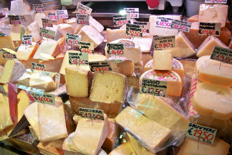 A fleeting glance at local Italian cheesemonger's goat & ewe cheeses, & some cow. Was cheese part of our diet before the invention of cooking fire? A lot has royalty free stock image