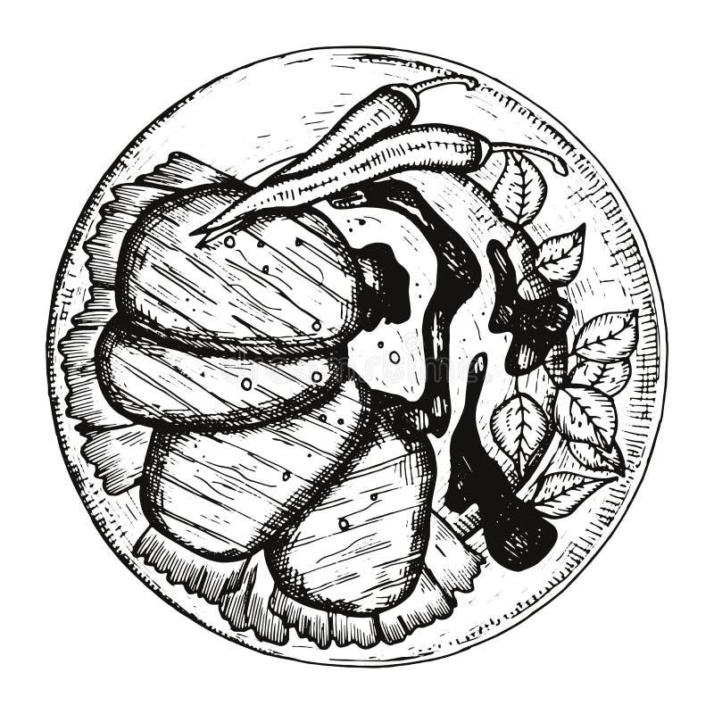 Fleisch in der Soße auf einem Plattenskizzenvektor Eine junge Frau in ihrer Unterwäsche vektor abbildung